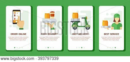 Order And Delivery Snacks Mobile Banner. Finger Taps Menu Selection Screen Fast Food Preparation And
