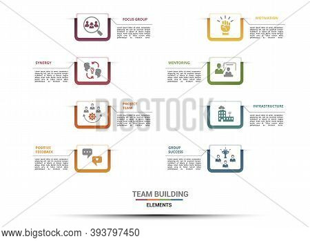 Infographic Team Building Template. Icons In Different Colors. Include Focus Group, Synergy, Project