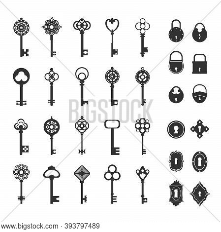Retro Locks And Keys Set. Vintage Silhouettes For Safes Doors Classic Medieval Style For Opening Tre