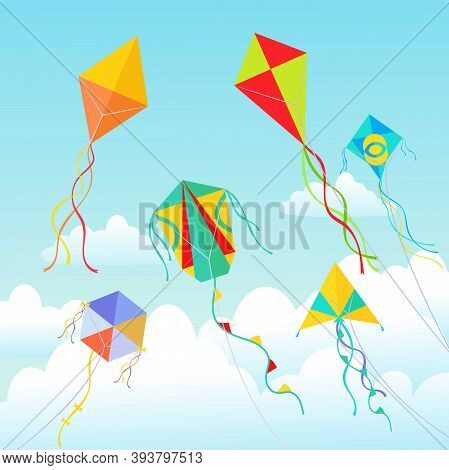 Kites Soaring In Clouds Illustration. Beautiful Geometric Devices Made Of Paper And Cardboard Swirli