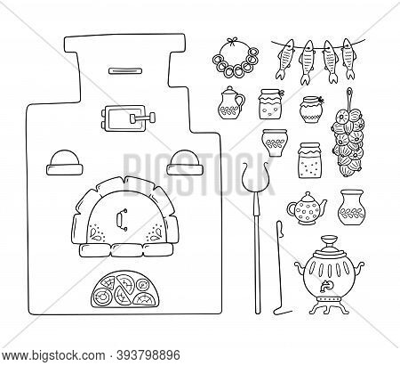Set With Traditional Russian Stove, Samovar, Grip, Pots, Jug, Bunch Of Onions And Dried Fish. Vector