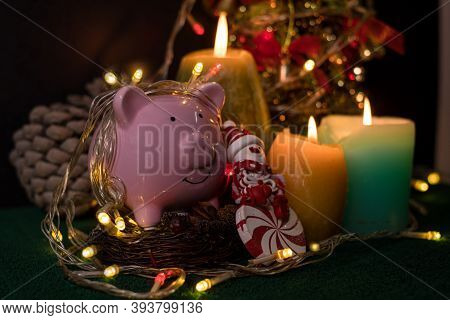 Piggy Bank With Party Light, Ready With Candles, Christmas Trees, And Party Lights For A Luxurious P