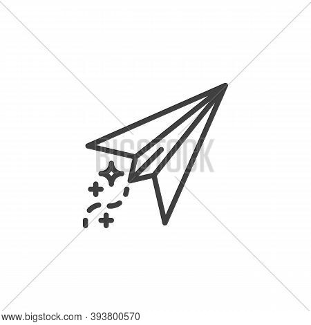 Paper Plane Line Icon. Linear Style Sign For Mobile Concept And Web Design. Toy Plane Outline Vector