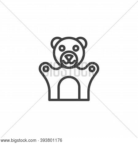 Teddy Bear Finger Puppet Line Icon. Linear Style Sign For Mobile Concept And Web Design. Finger Toy