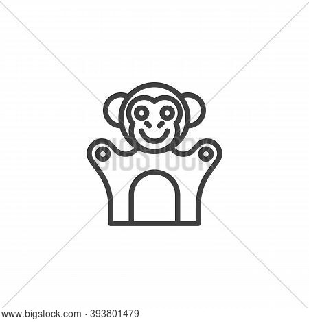 Monkey Finger Puppet Line Icon. Linear Style Sign For Mobile Concept And Web Design. Finger Toy Monk