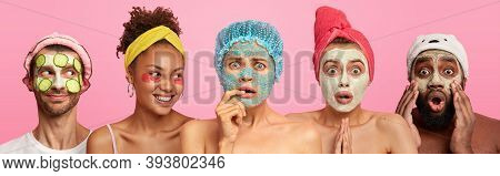 Hotizontal Shot Of Three Women With Clay Mask, Scrub On Face And Patches, Shocked Afro American Man