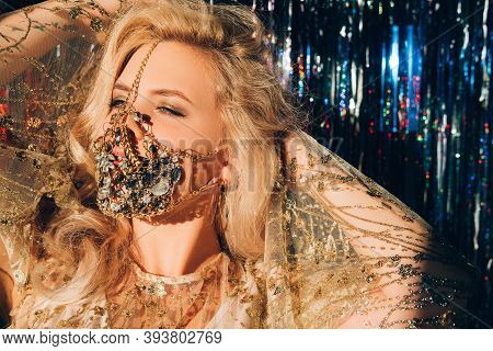 Pandemic Fashion. Christmas Party. Festive Look. Sensual Blonde Woman In Glamour Gold Jewelry Chain