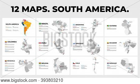 South America. Vector Map Infographic Templates. Slide Presentation. Brazil, Argentina, Colombia Etc