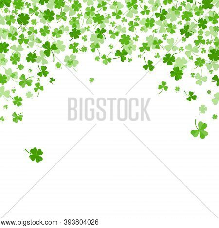 Shamrock Or Clover Leaves Flat Design Green Backdrop Pattern Vector Illustration Isolated On White B