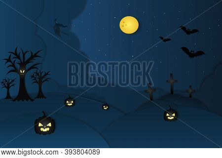 Halloween. Full Moon. Starry Sky. Cutout Style. Vector Illustration. Ominous Trees And Pumpkins With