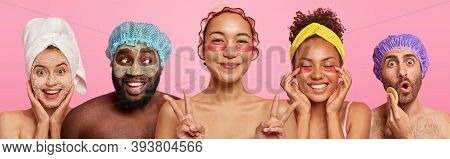 Collage Shot Of Mixed Race People Care About Complexion And Body, Apply Under Eye Patches, Scrub And
