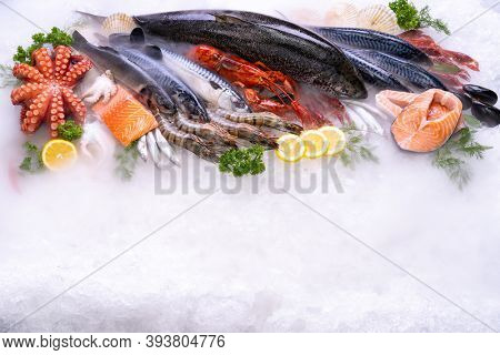 Top view of variety of fresh luxury seafood, Lobster salmon mackerel crayfish prawn octopus mussel and scallop, on ice background with icy smoke in seafood market. Photo With Copy space.