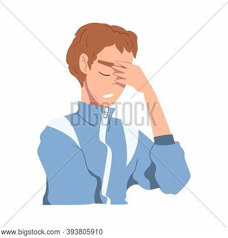 Embarrassed Young Man, Regretful Person Character Sorry And Apologizing Cartoon Style Vector Illustr