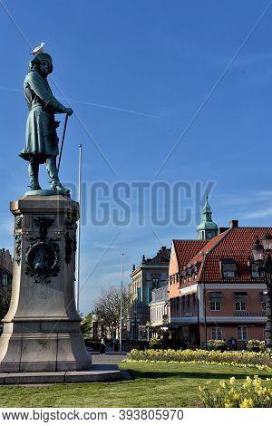 Sweden, Karlskrona 11,05,2016 King Karl Xi Statue In Karlskrona City
