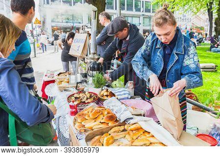 Helsinki, Finland - May 21, 2016: Helsinki Restaurant Day Members, Traditional Street Carnival Of Fo