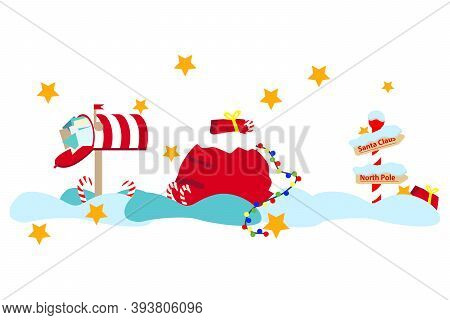 Vector New Year Set. Christmas Bag Of Santa Claus With Gifts, Mailbox Full Of Letters Santa Claus, N