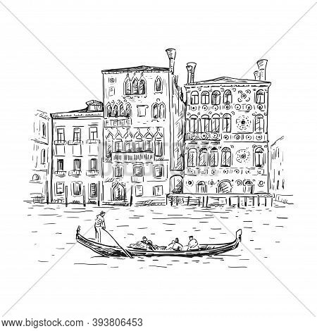 Hand Drawn Sketch Vector Illustration Of Venice, Italy. Drawing Of A Canal, Houses And Gondola. Tour