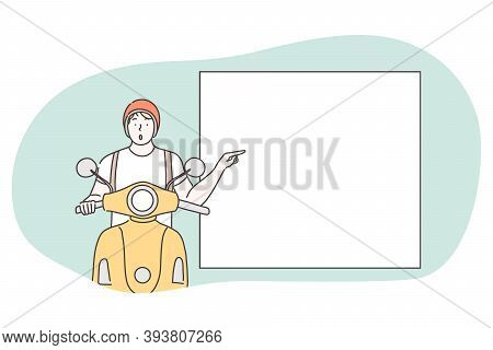 Demonstration, Promotion, Paying Attention, Advertisement Concept. Young Surprised Frustrated Motorc