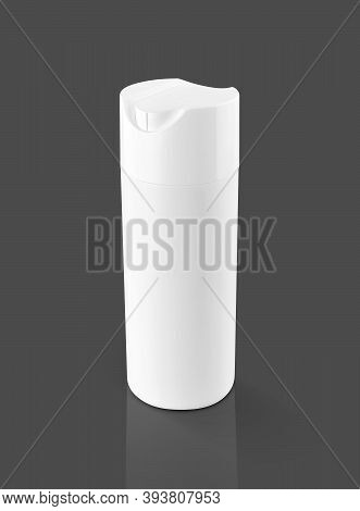 Blank Packaging White Plastic Shampoo Bottle For Toiletry Or Sanitation Product Design Mock-up Isola