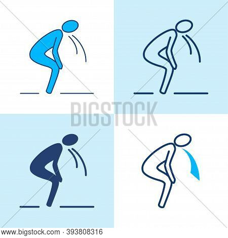 Vomiting Person Icon Set In Line Style