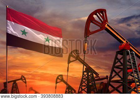 Syrian Arab Republic Oil Industry Concept, Industrial Illustration. Syrian Arab Republic Flag And Oi