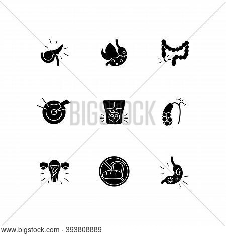 Pain In Belly Black Glyph Icons Set On White Space. Pancreatitis. Burning Sensation In Belly. Append