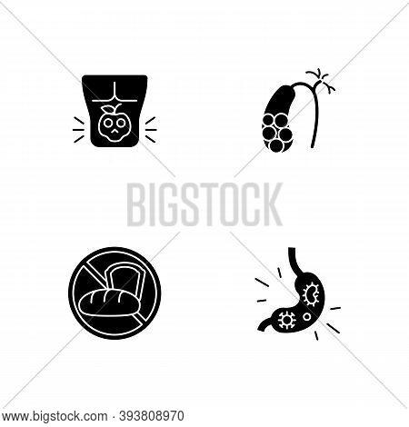 Discomfort In Abdomen Black Glyph Icons Set On White Space. Food Poisoning. Gallstones. Gluten Intol