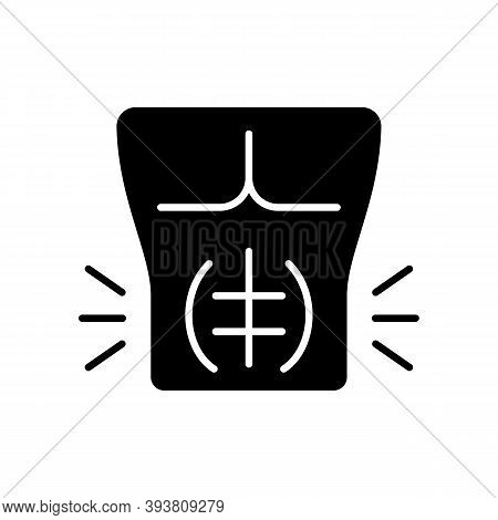 Abdominal Muscle Strain Black Glyph Icon. Full Rupture. Mild Stretch. Pulled Stomach Muscle. Tear. I