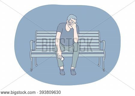 Sadness, Stress, Loneliness, Mental Depression, Grief, Breaking Up, Quarrel Concept. Young Man Carto