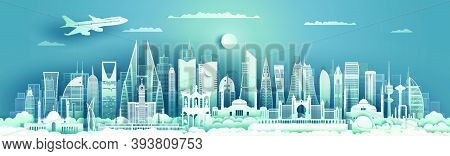 Middle East Landmarks Of Asia With Colorful Ancient And Modern Architecture Background. Tourism Arab