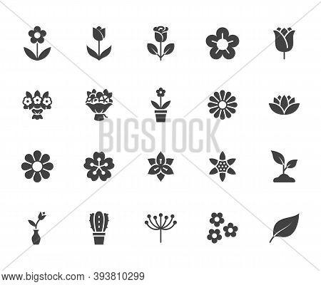 Flower Silhouette Icon Set. Rose, Tulip In Vase, Fruit Bouquet, Spring Blossom, Cactus, Chamomile, S
