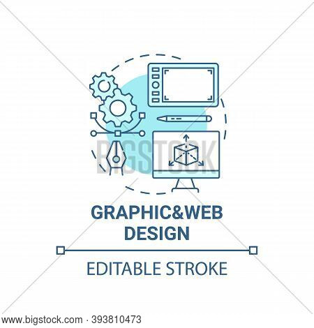 Graphic And Web Design Concept Icon. Top Careers In It For Creative Thinkers. Creation Of Vector Gra