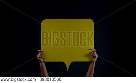 Bubble Speech Template Texture Background. Protest , Mob Or Expression Concept. Person Raised Up A B