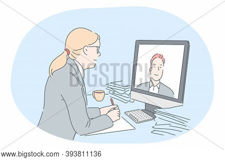 Online Meeting, Business Communication, Distant Work, Teleconference Concept. Young Business Lady Ca