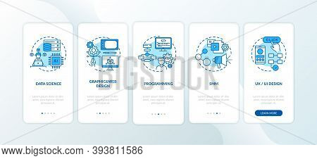Top Careers In It For Creative Thinkers Onboarding Mobile App Page Screen With Concepts. Graphic Web