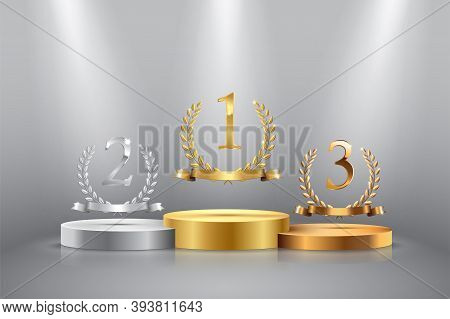 Winner Background With Golden, Silver And Bronze Laurel Wreaths With Ribbons And First, Second And T