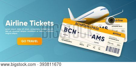 Airline Tickets Web Banner. Plane And Boarding Pass. Traveling Service Homepage. Tourism Website. Bo