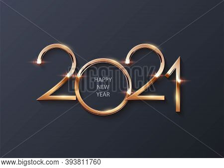 Glowing Shiny Golden New 2021 Year Number Symbol On Gray Background. Festive Winter Holiday Merry Ch