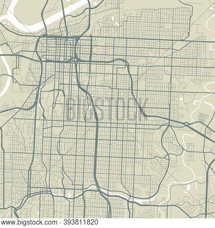 Vector Map Of Kansas City, Usa, United States. Street Map Poster Illustration. Kansas City Map Art.