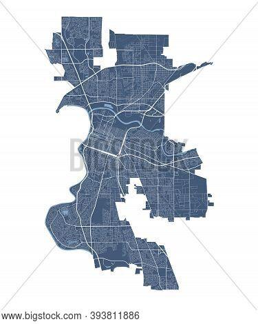 Sacramento Map. Detailed Vector Map Of Sacramento City Administrative Area. Cityscape Poster Metropo