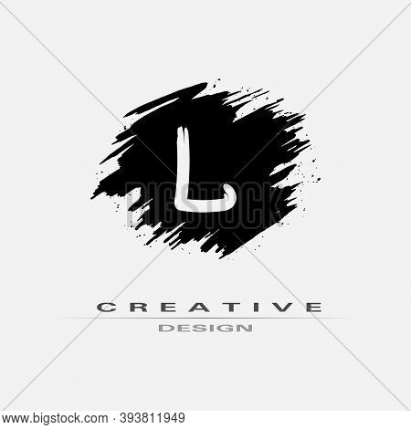 Letter L Logo With Brush Stroke And Splatter Elements. Handwritten Brush Stroke Letter L Logo Design