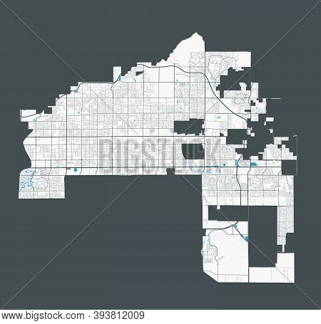 Mesa Map. Detailed Map Of Mesa City Administrative Area. Cityscape Panorama. Royalty Free Vector Ill
