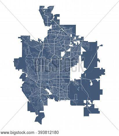 Colorado Springs Map. Detailed Vector Map Of Colorado Springs City Administrative Area. Cityscape Po