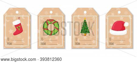 A Set Of Labels And Tags For Gifts With Christmas Elements. Christmas Stocking, Fur Hat, Decorated C