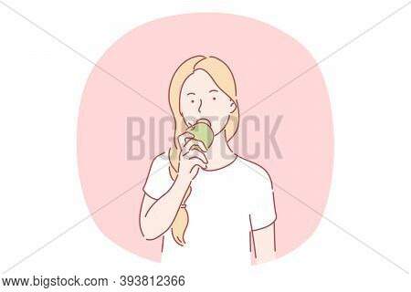 Healthy Eating, Vegetarian And Vegan Food, Fruits Concept. Young Girl Cartoon Character Biting And E