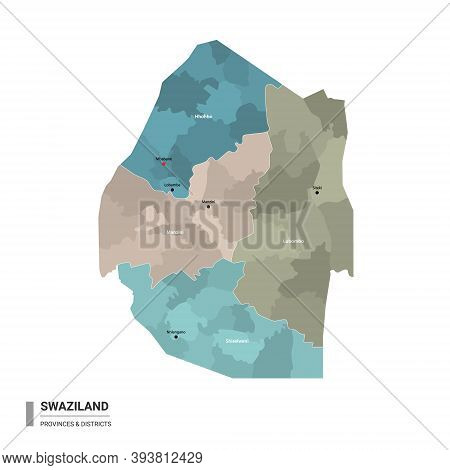 Swaziland ( Eswatini ) Higt Detailed Map With Subdivisions. Administrative Map Of Swaziland ( Eswati