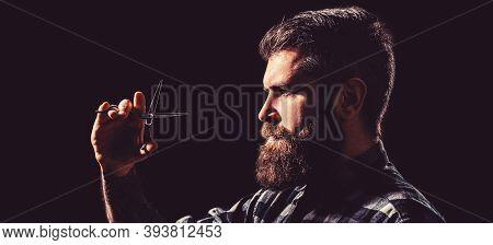 Bearded Man, Long Beard, Brutal, With Moustache, Haircut. Barber Scissors. Mens Haircut. Long Beard.