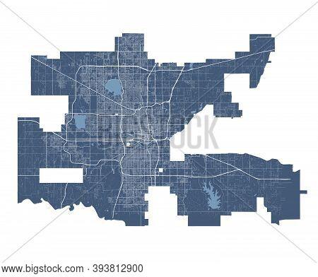 Oklahoma City Map. Detailed Vector Map Of Oklahoma City City Administrative Area. Cityscape Poster M