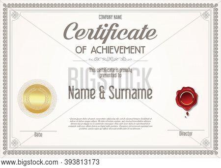 Certificate Of Achievement Retro Design Template 6302.eps