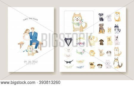 Wedding Invitation Cards, Save The Date Template. Bride And Groom With Their Dog Image. Dog And Flor